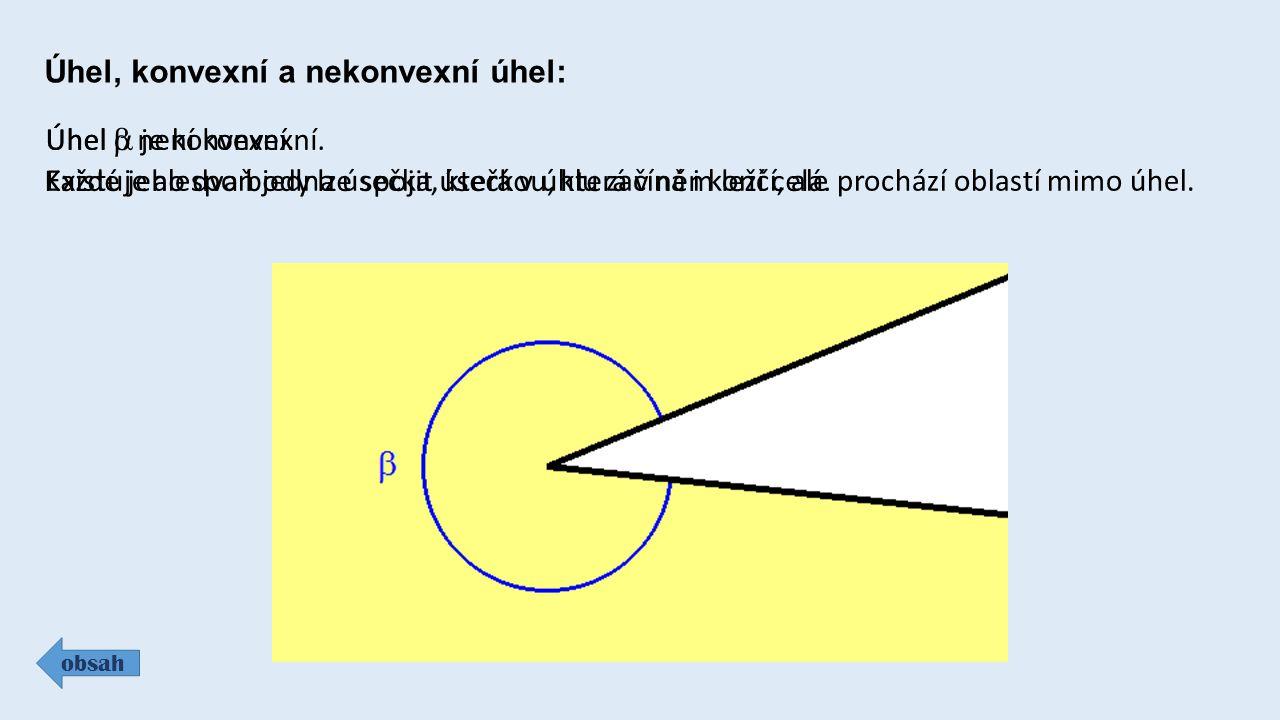 Úhel, konvexní a nekonvexní úhel: