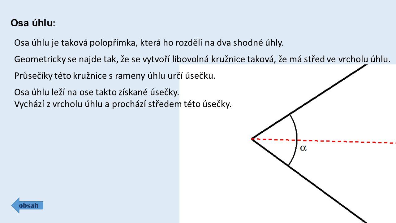 Osa úhlu je taková polopřímka, která ho rozdělí na dva shodné úhly.