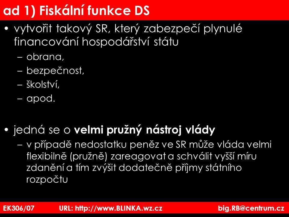 ad 1) Fiskální funkce DS vytvořit takový SR, který zabezpečí plynulé financování hospodářství státu.
