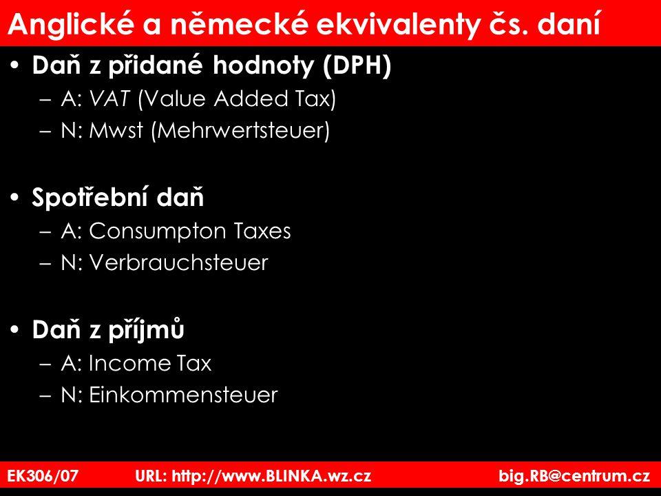Anglické a německé ekvivalenty čs. daní