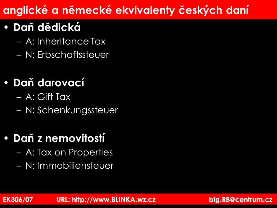 anglické a německé ekvivalenty českých daní