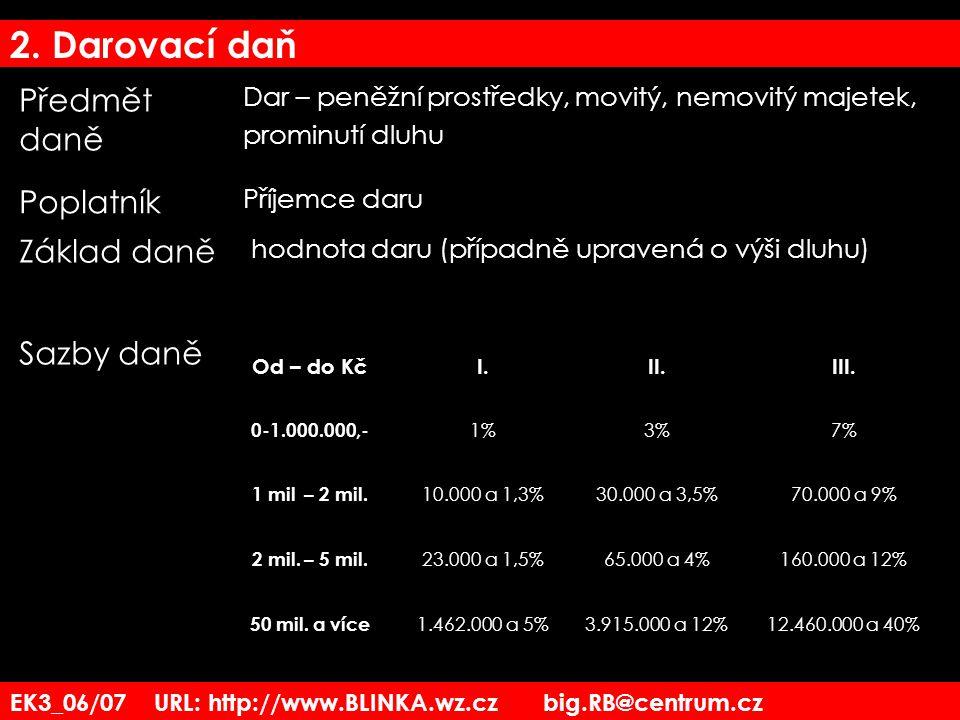 2. Darovací daň Předmět daně Poplatník Základ daně Sazby daně