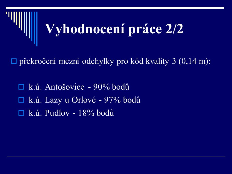 Vyhodnocení práce 2/2 k.ú. Antošovice - 90% bodů