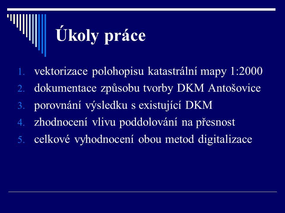 Úkoly práce vektorizace polohopisu katastrální mapy 1:2000