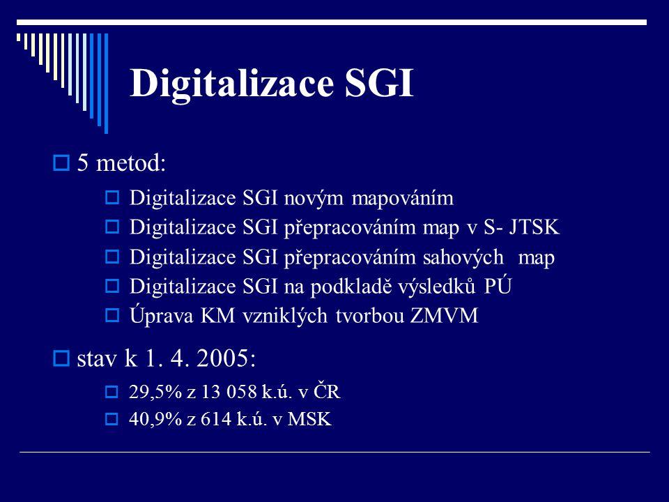 Digitalizace SGI 5 metod: stav k 1. 4. 2005: