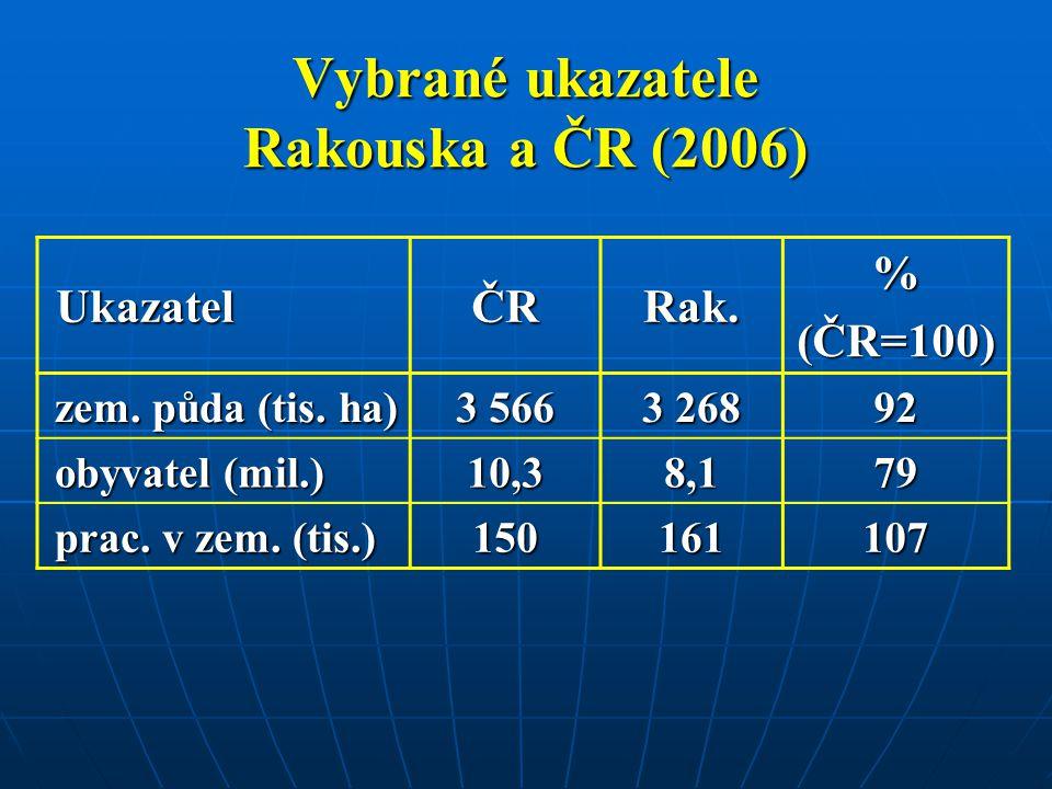 Vybrané ukazatele Rakouska a ČR (2006)