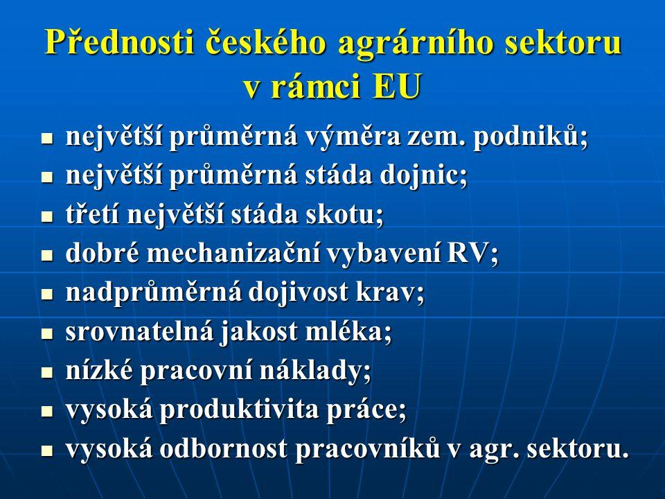 Přednosti českého agrárního sektoru v rámci EU