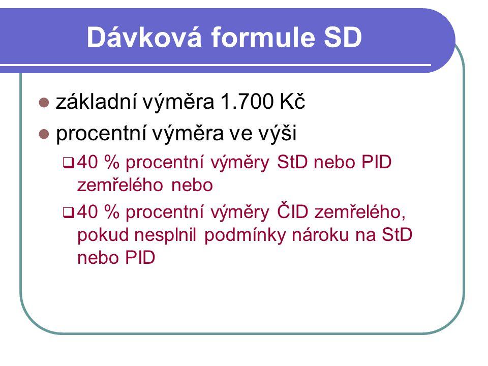 Dávková formule SD základní výměra 1.700 Kč procentní výměra ve výši