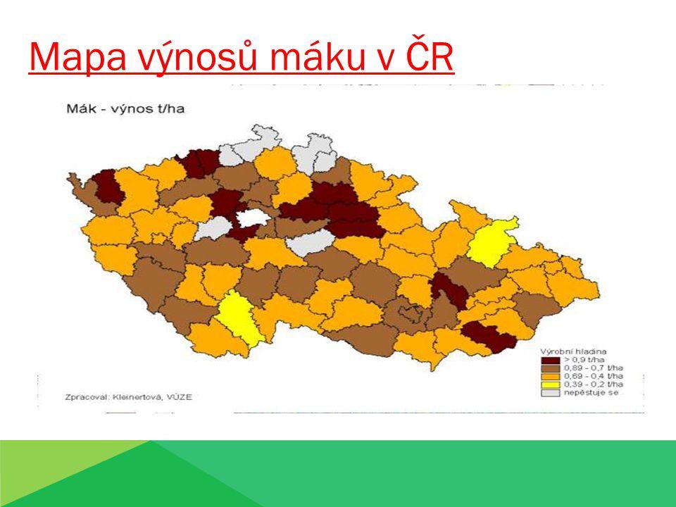 Mapa výnosů máku v ČR Mapa výnosů máku v ČR