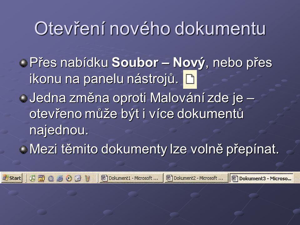Otevření nového dokumentu
