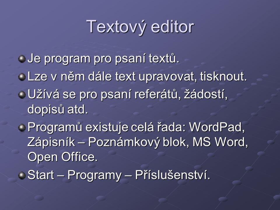 Textový editor Je program pro psaní textů.