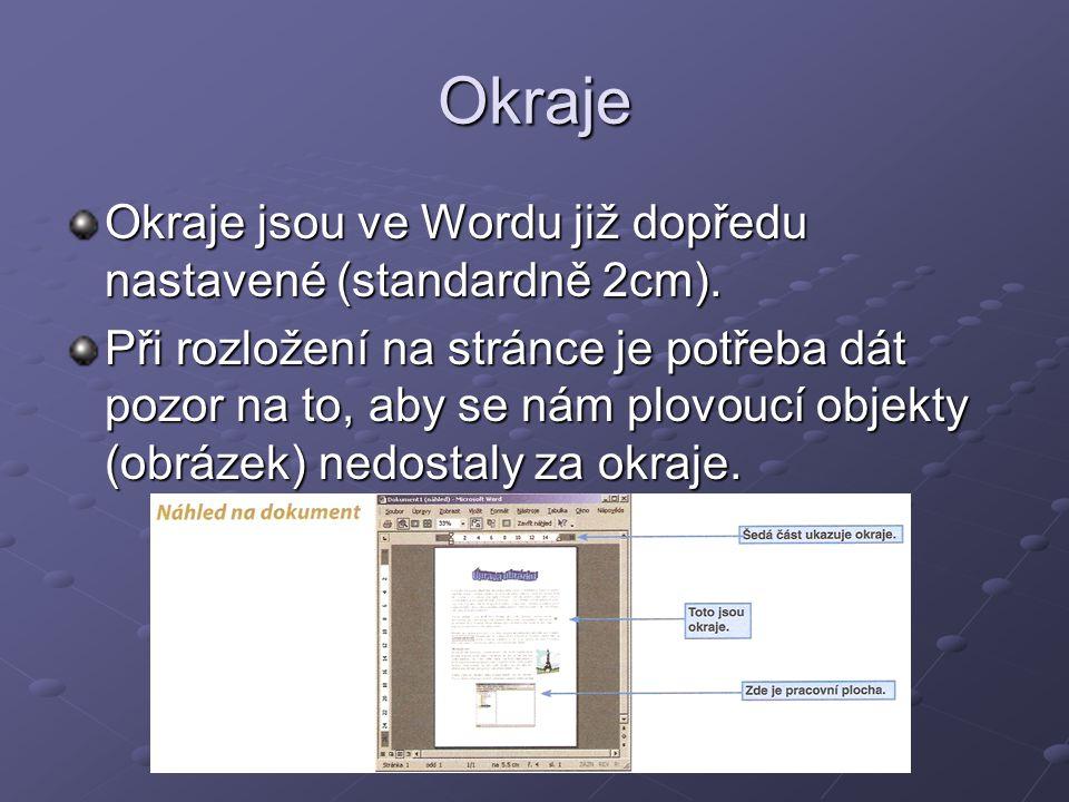 Okraje Okraje jsou ve Wordu již dopředu nastavené (standardně 2cm).