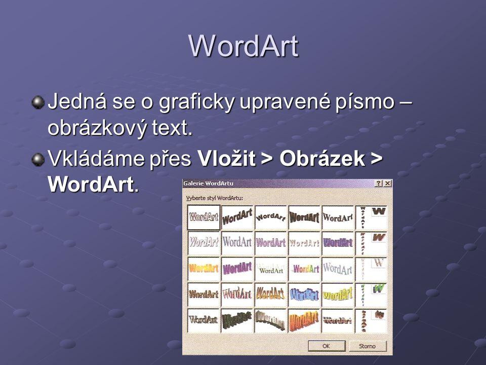 WordArt Jedná se o graficky upravené písmo – obrázkový text.
