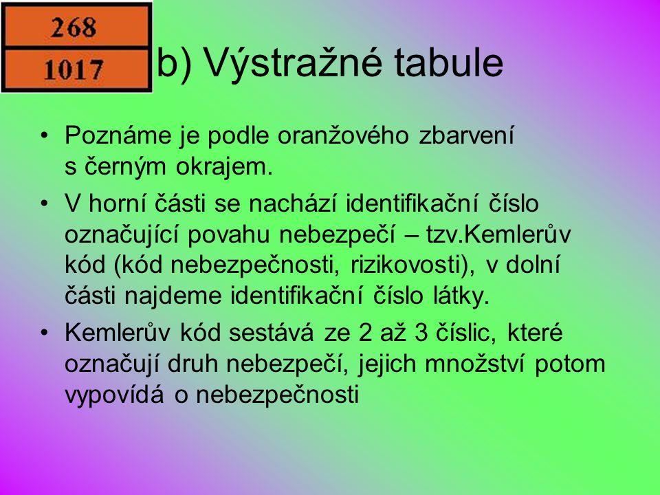 b) Výstražné tabule Poznáme je podle oranžového zbarvení s černým okrajem.