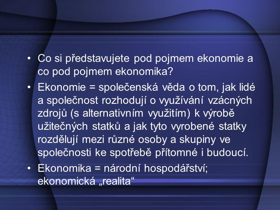 Co si představujete pod pojmem ekonomie a co pod pojmem ekonomika