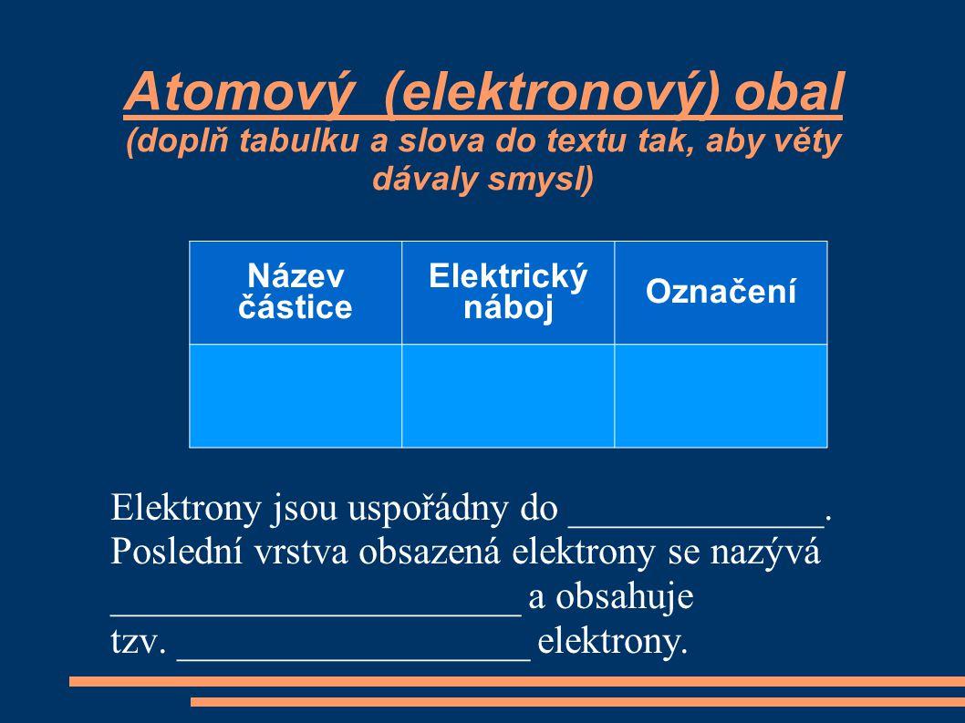 Atomový (elektronový) obal (doplň tabulku a slova do textu tak, aby věty dávaly smysl)