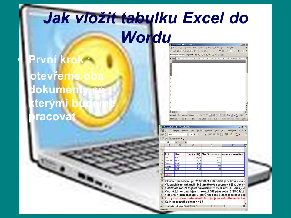 Jak vložit tabulku Excel do Wordu