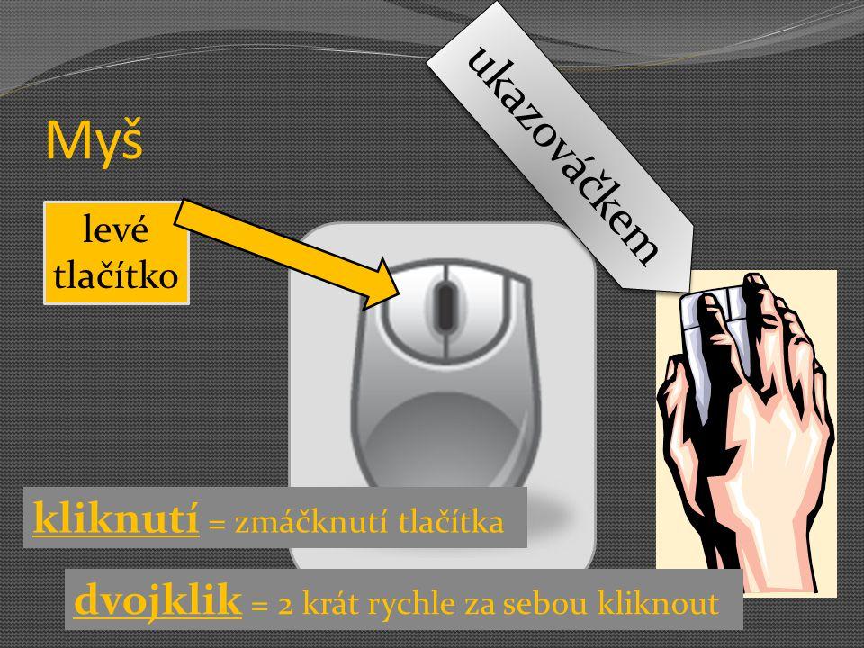Myš ukazováčkem kliknutí = zmáčknutí tlačítka