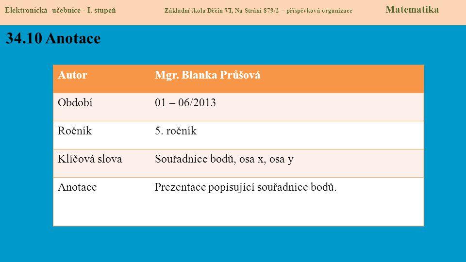 34.10 Anotace Autor Mgr. Blanka Průšová Období 01 – 06/2013 Ročník