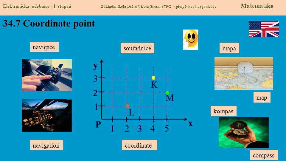 34.7 Coordinate point y 3 K 2 M 1 L P x 1 2 3 4 5 navigace souřadnice