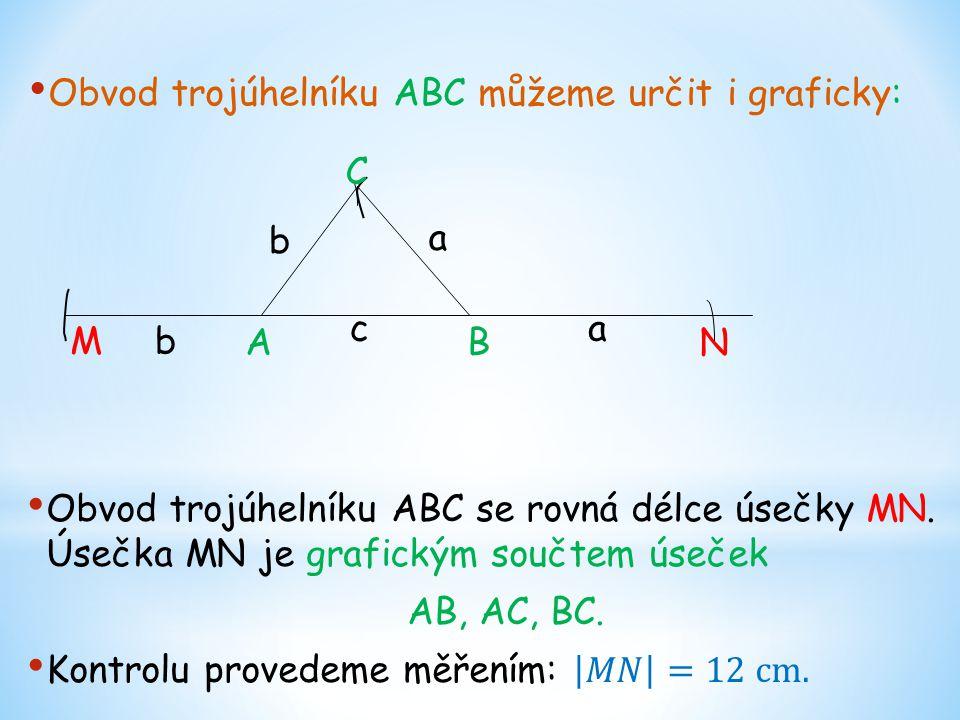 Obvod trojúhelníku ABC můžeme určit i graficky: