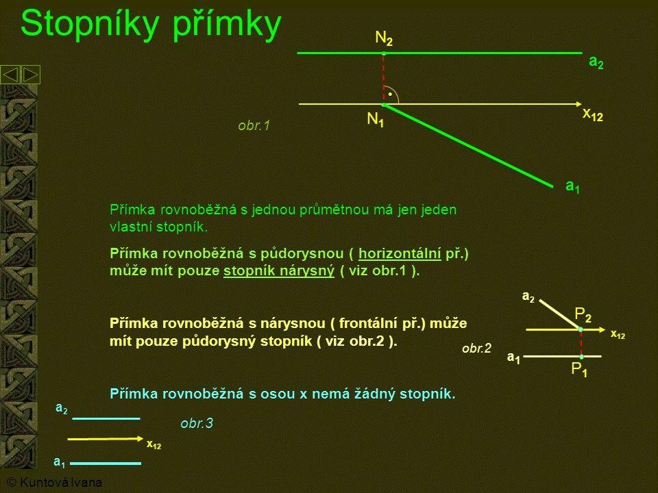 Stopníky přímky N2 a2 x12 N1 a1 P2 P1 obr.1