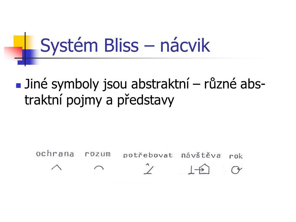 Systém Bliss – nácvik Jiné symboly jsou abstraktní – různé abs-traktní pojmy a představy