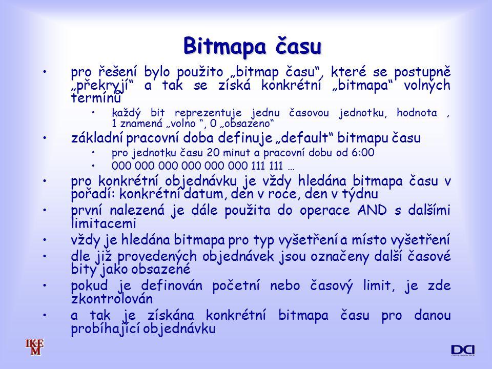 """Bitmapa času pro řešení bylo použito """"bitmap času , které se postupně """"překryjí a tak se získá konkrétní """"bitmapa volných termínů."""