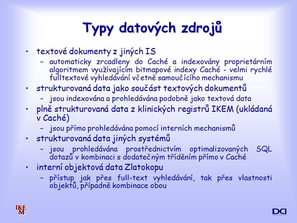Typy datových zdrojů textové dokumenty z jiných IS
