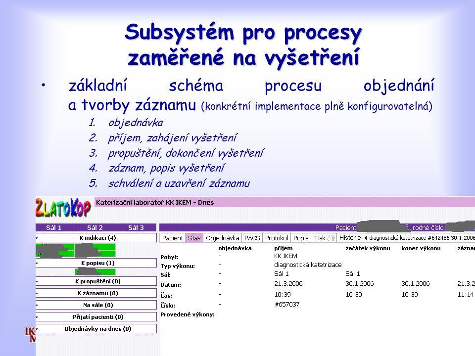 Subsystém pro procesy zaměřené na vyšetření