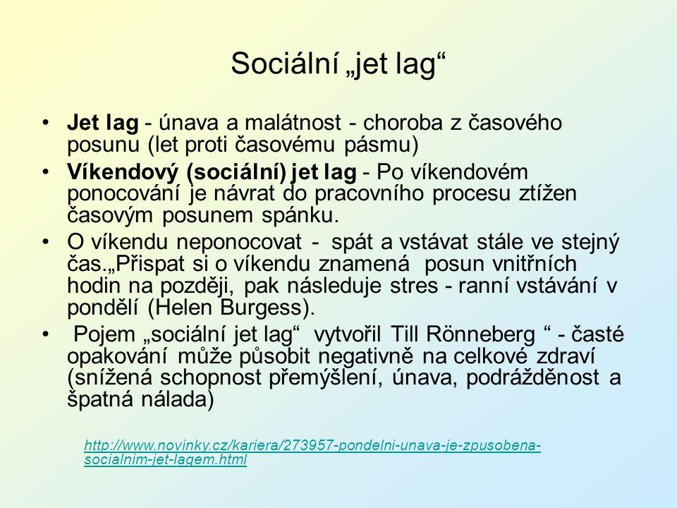 """Sociální """"jet lag Jet lag - únava a malátnost - choroba z časového posunu (let proti časovému pásmu)"""