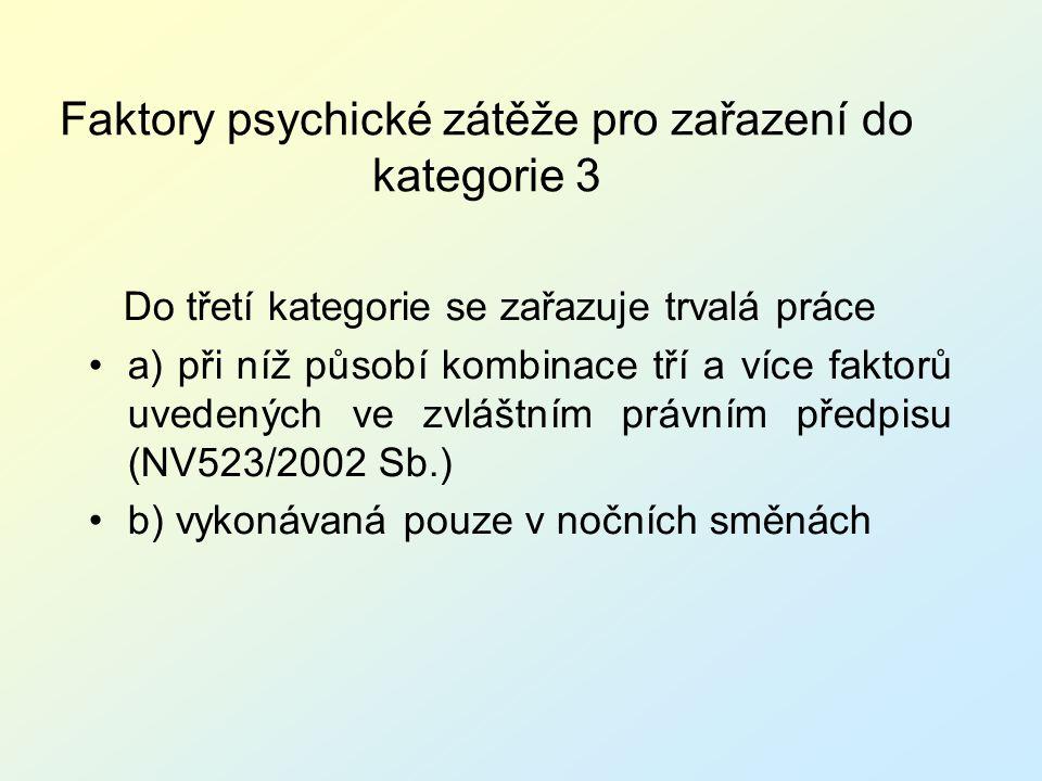 Faktory psychické zátěže pro zařazení do kategorie 3