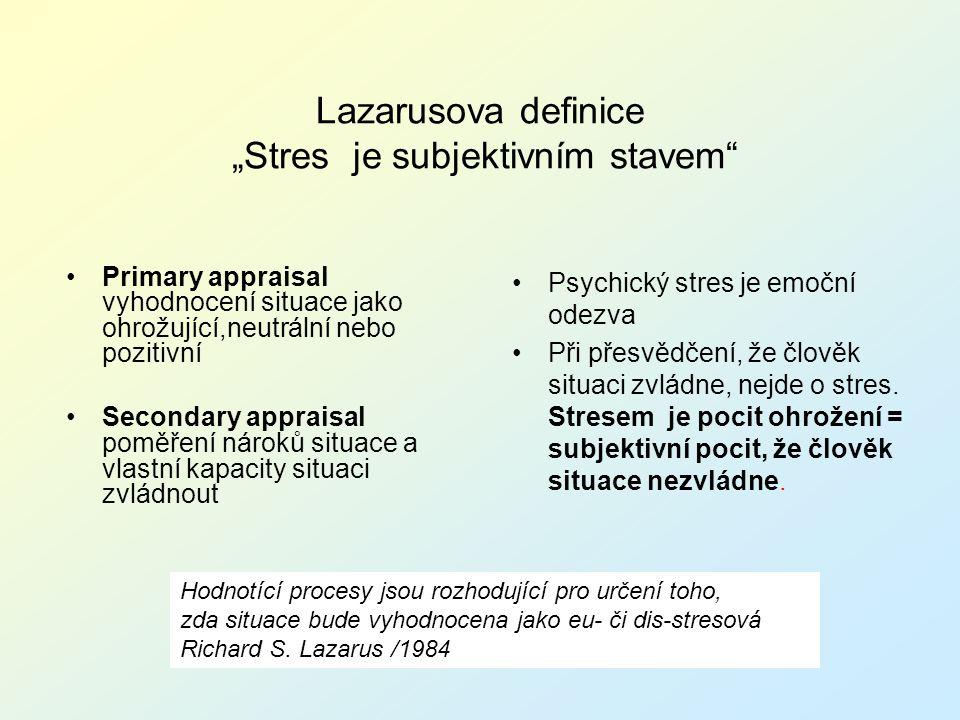 "Lazarusova definice ""Stres je subjektivním stavem"