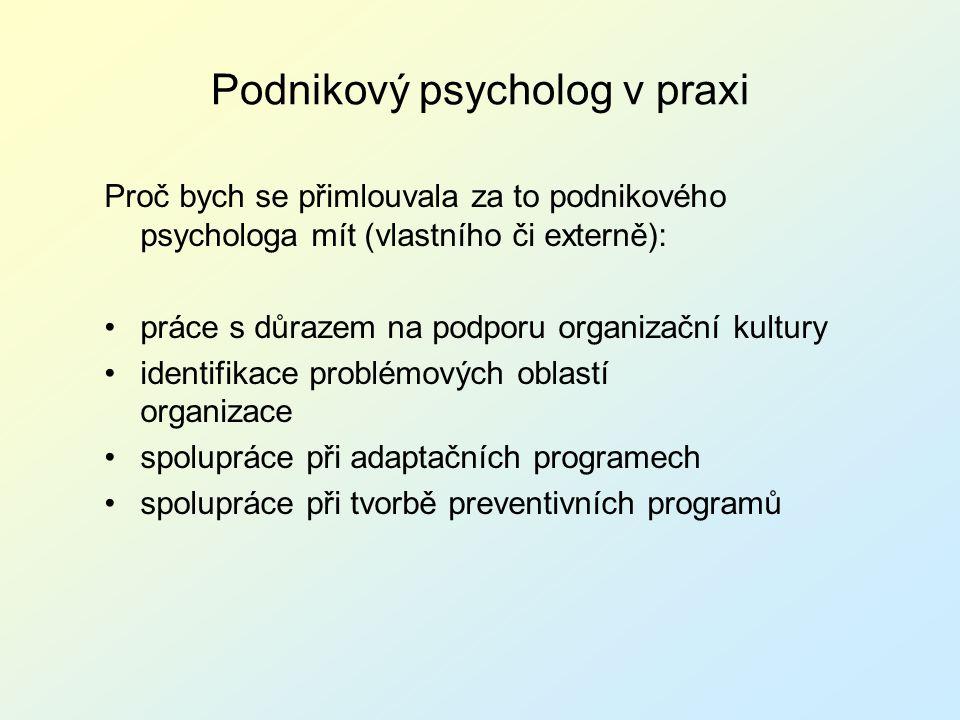 Podnikový psycholog v praxi