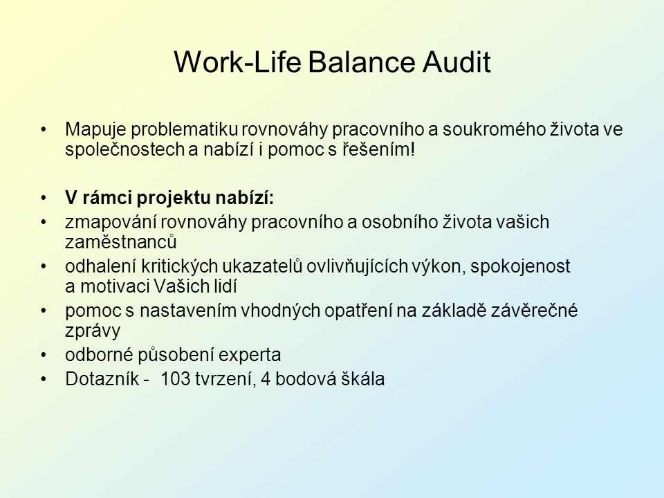 Work-Life Balance Audit