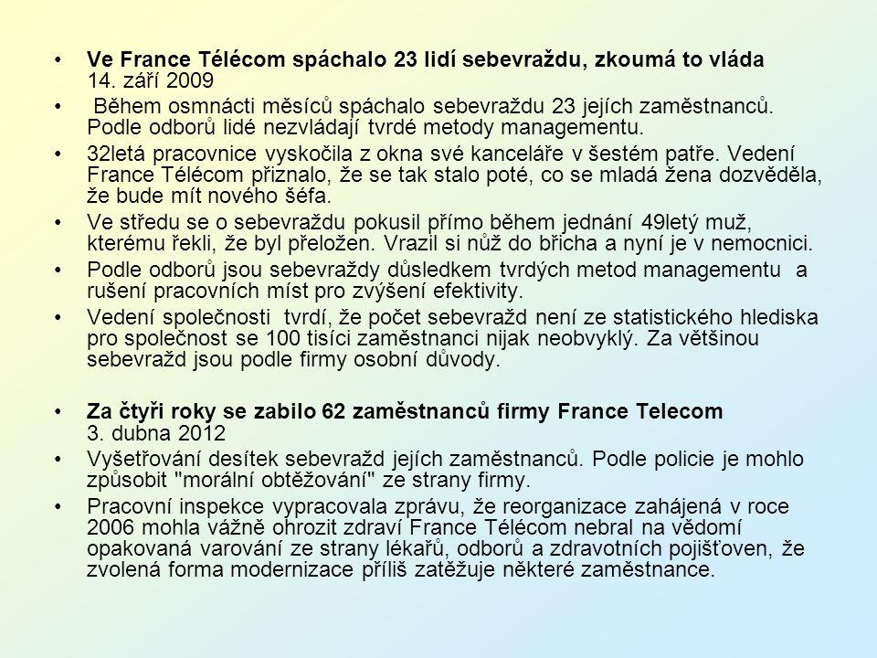 Ve France Télécom spáchalo 23 lidí sebevraždu, zkoumá to vláda 14
