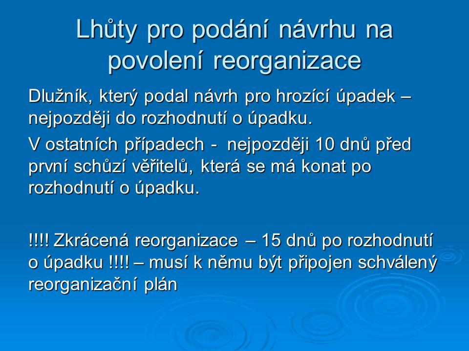 Lhůty pro podání návrhu na povolení reorganizace