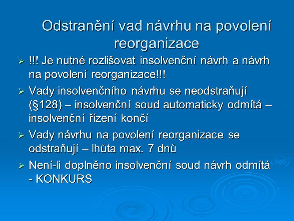 Odstranění vad návrhu na povolení reorganizace