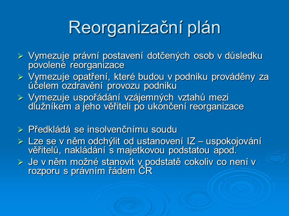 Reorganizační plán Vymezuje právní postavení dotčených osob v důsledku povolené reorganizace.