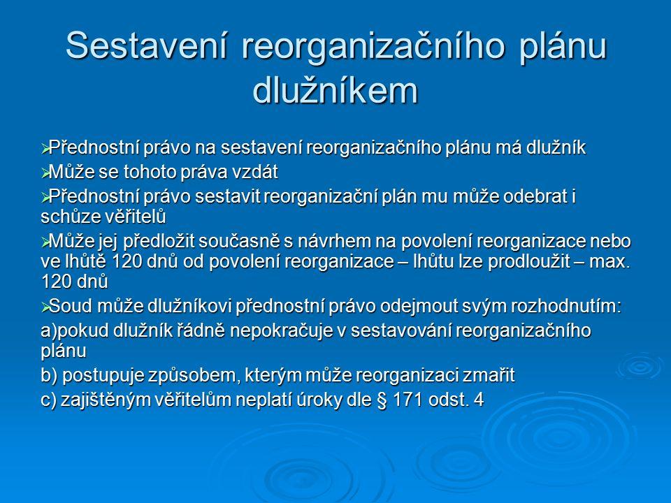 Sestavení reorganizačního plánu dlužníkem