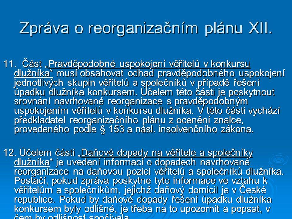 Zpráva o reorganizačním plánu XII.