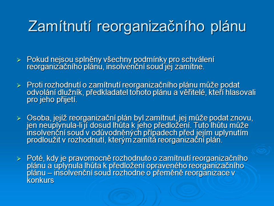 Zamítnutí reorganizačního plánu
