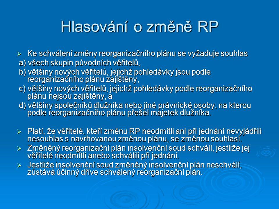 Hlasování o změně RP Ke schválení změny reorganizačního plánu se vyžaduje souhlas. a) všech skupin původních věřitelů,
