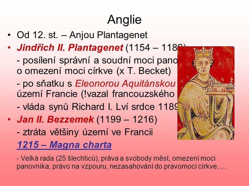 Anglie Od 12. st. – Anjou Plantagenet