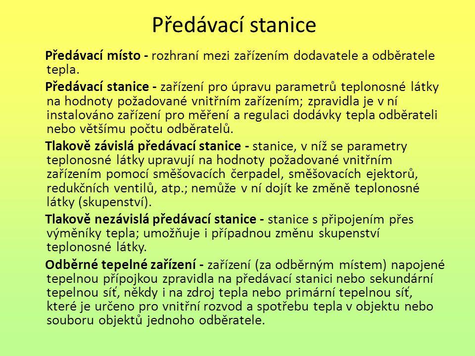 Předávací stanice Předávací místo - rozhraní mezi zařízením dodavatele a odběratele tepla.