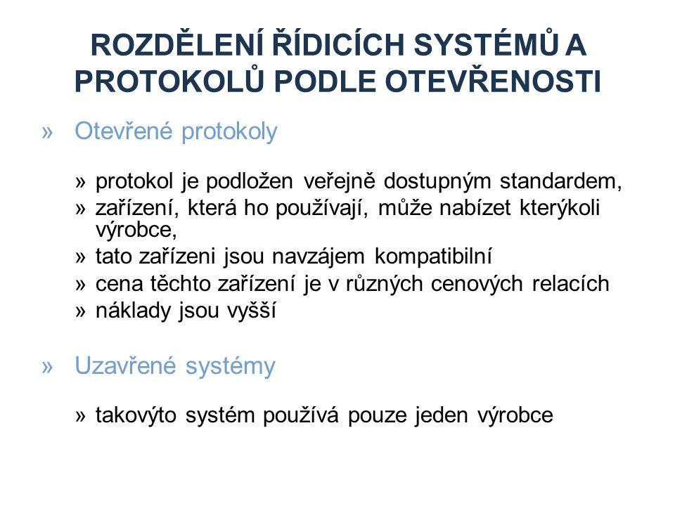 Rozdělení řídicích systémů a protokolů podle otevřenosti