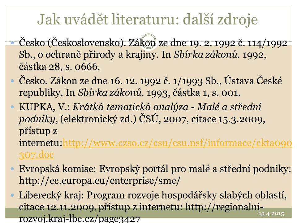 Jak uvádět literaturu: další zdroje