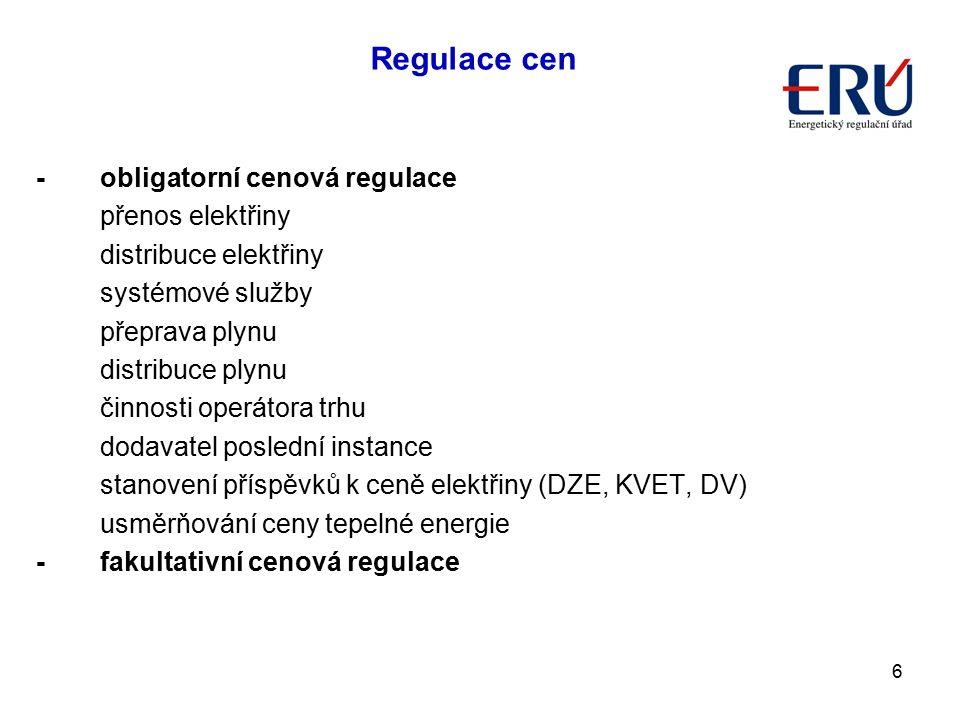 Regulace cen - obligatorní cenová regulace přenos elektřiny