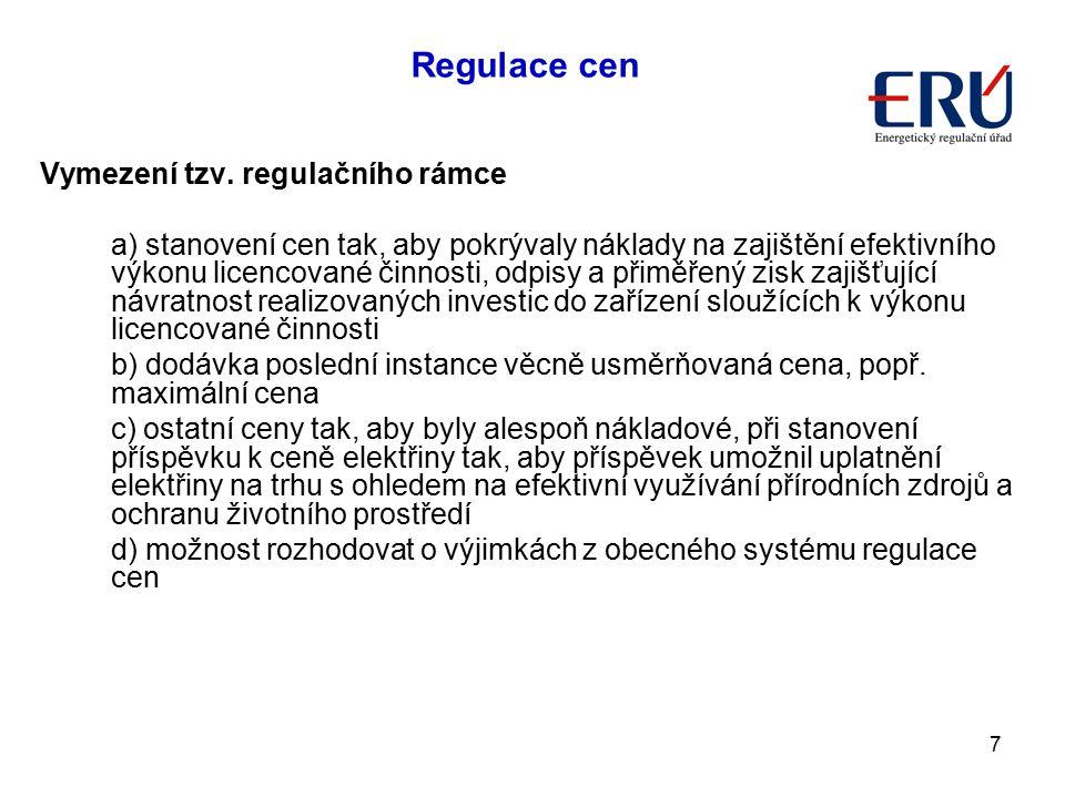 Regulace cen Vymezení tzv. regulačního rámce