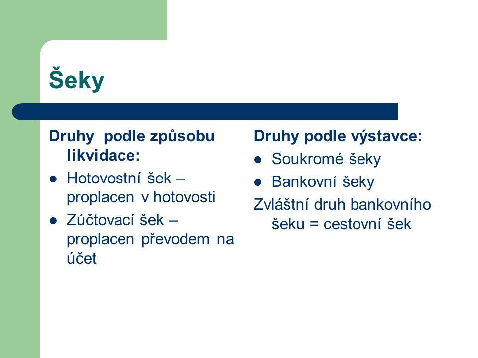 Šeky Druhy podle způsobu likvidace: